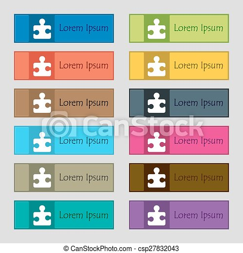 Puzzle piece icon sign. Set of twelve rectangular, colorful, beautiful, high-quality buttons for the site. Vector - csp27832043