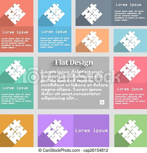 Puzzle piece icon sign. Set of multicolored buttons. Metro style with space for text. The Long Shadow Vector - csp26154812