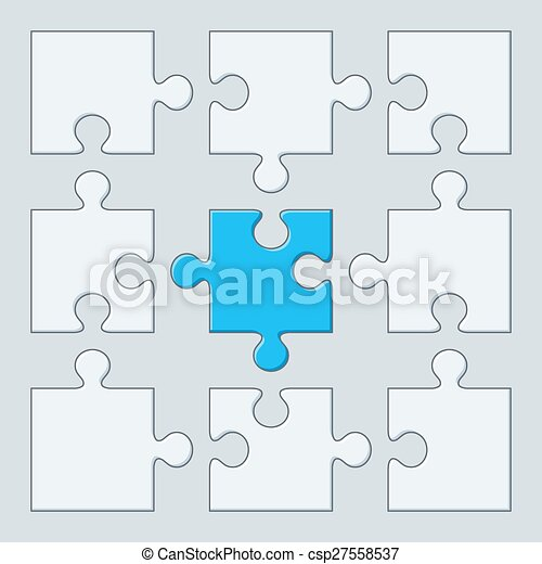 Puzzle Pieces 9 Vector Illustration Jigsaw Template
