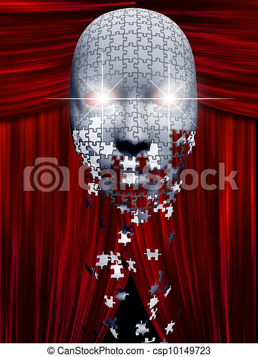 Puzzle pieces fall away from mask in theater backgropund - csp10149723