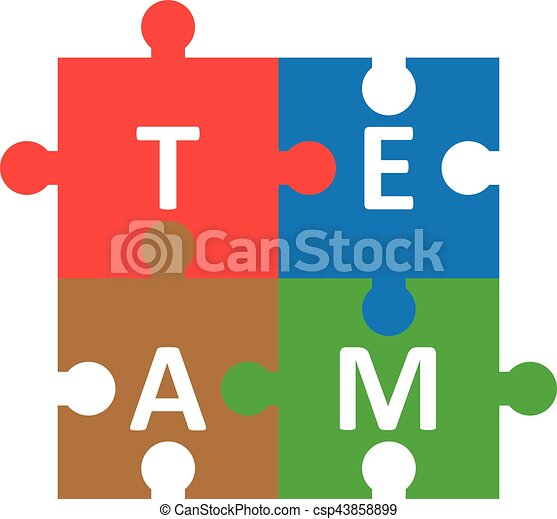 puzzle pieces forming team vector red blue brown green jigsaw rh canstockphoto com puzzle pieces vector art puzzle piece vector free