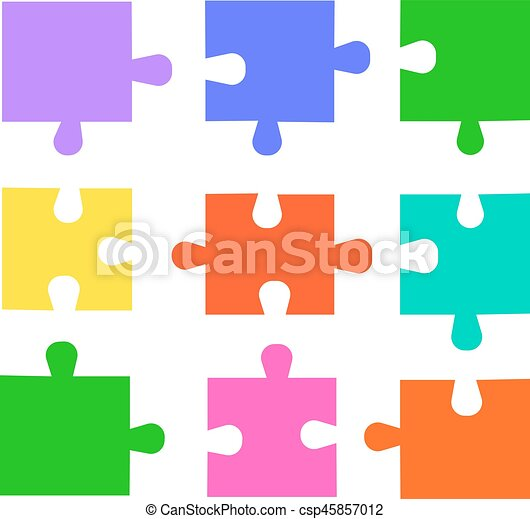 puzzle pieces set colored vector puzzles for design puzzle rh canstockphoto com puzzle pieces vector png puzzle pieces vector free