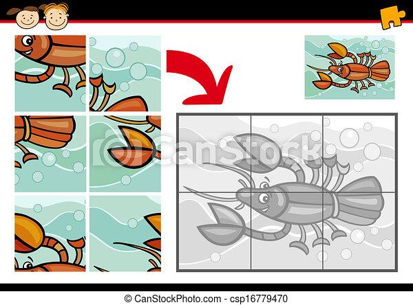 puzzle, puzzle, jeu, dessin animé, écrevisse - csp16779470