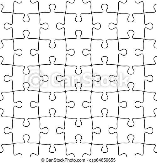 puzzle, puzzle, pattern., seamless, vecteur, arrière-plan noir, blanc - csp64659655