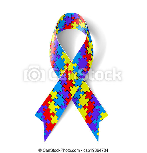 colorful puzzle ribbon as symbol autism awareness vector search rh canstockphoto com autism awareness ribbon clipart autism awareness day clipart