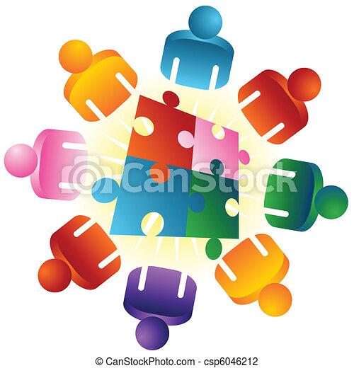 puzzle, risolvere, roundtable, squadra - csp6046212