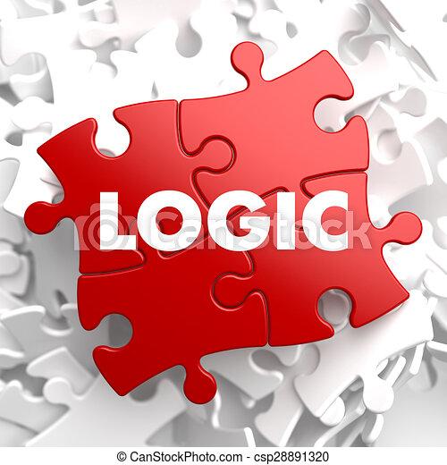 Puzzle., rojo, lógica. Fondo., rompecabezas, rojo blanco, lógica.