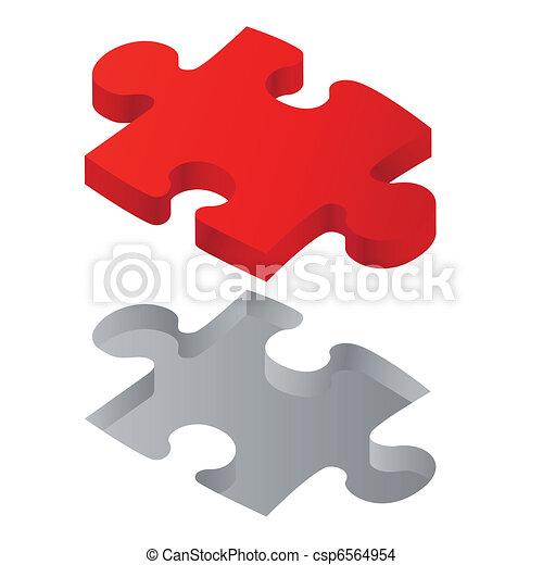 puzzle, rouges, une - csp6564954