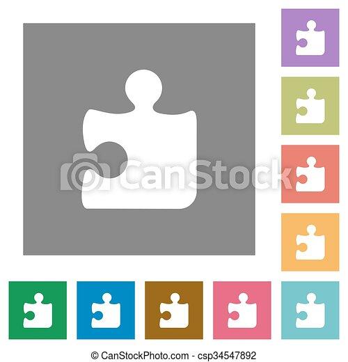Puzzle square flat icons - csp34547892