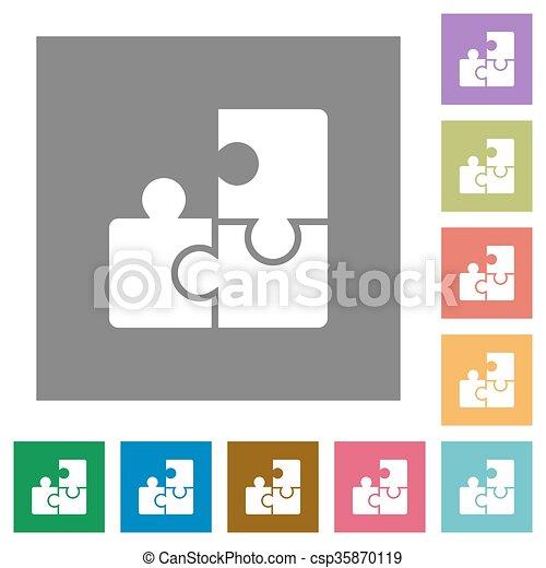 Puzzle square flat icons - csp35870119
