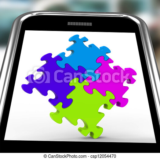 Puzzle Square On Smartphone Shows Unity - csp12054470