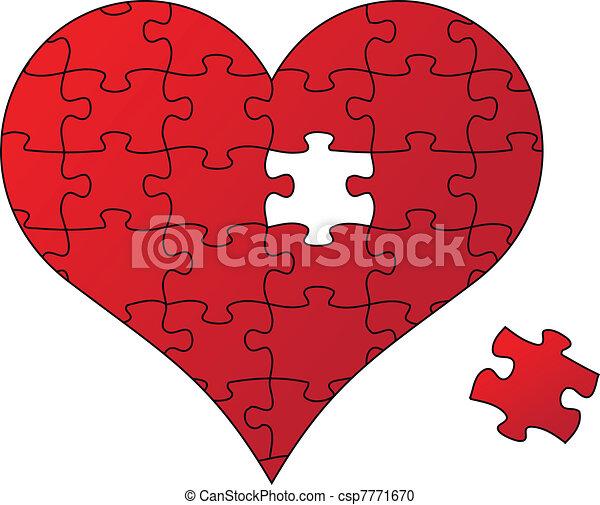 puzzle, vecteur, coeur rouge - csp7771670