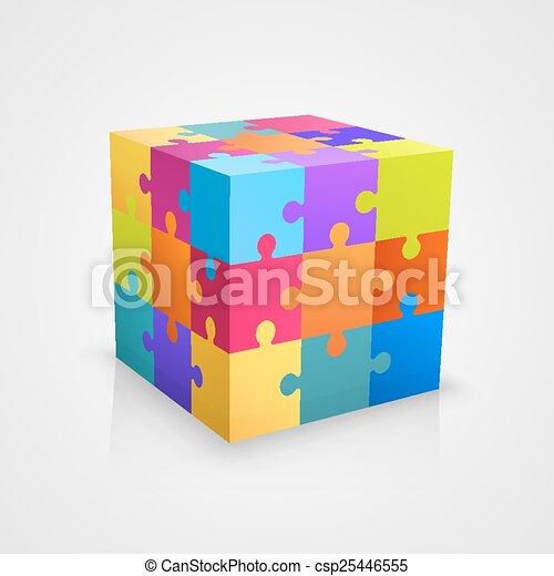 puzzle, vecteur, coloré, illustration, cube. - csp25446555