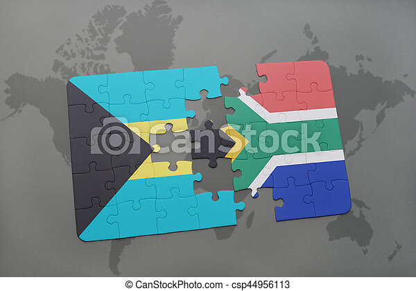 Puzzle with the national flag of bahamas and south africa on a world puzzle with the national flag of bahamas and south africa on a world map csp44956113 gumiabroncs Image collections