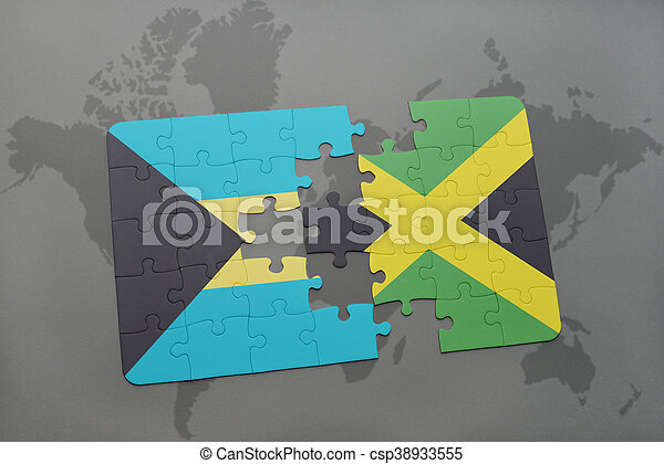 Puzzle with the national flag of bahamas and jamaica on a stock puzzle with the national flag of bahamas and jamaica on a world map background gumiabroncs Gallery