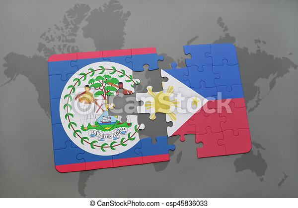puzzle with the national flag of belize and philippines on a world on map showing philippines, map of philippines in imperialism, map of philippines in asia, map of bohol island philippines, map of morocco and surrounding countries, map of philippines on world map,