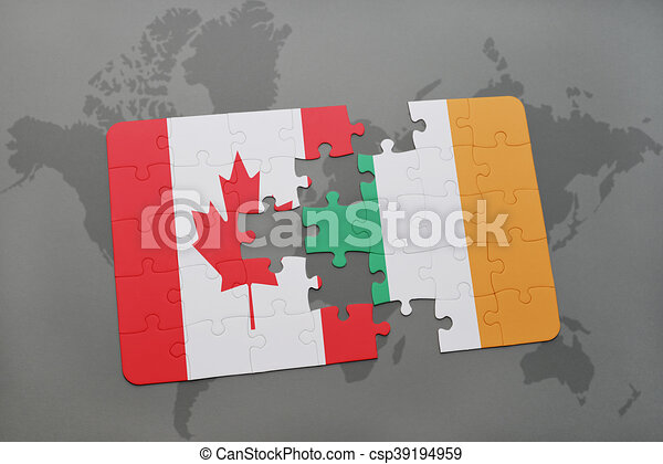 Puzzle with the national flag of canada and ireland on a stock puzzle with the national flag of canada and ireland on a world map background gumiabroncs Images