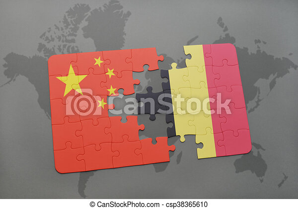 puzzle with the national flag of china and belgium on a world map background. - csp38365610