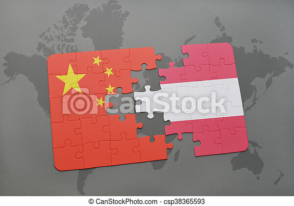 puzzle with the national flag of china and austria on a world map background. - csp38365593