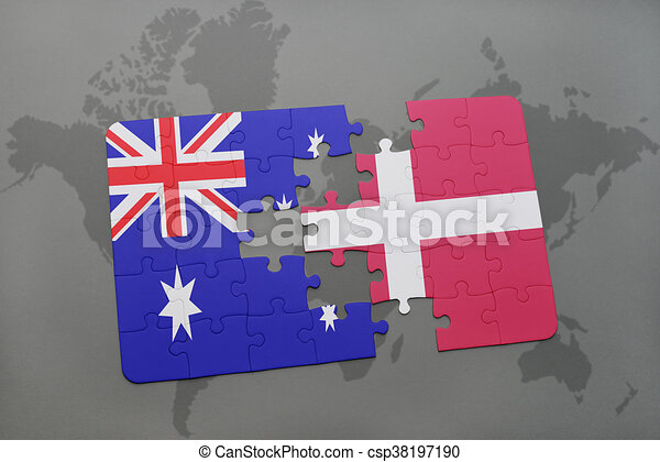 Puzzle with the national flag of australia and denmark on a world puzzle with the national flag of australia and denmark on a world map background gumiabroncs Images
