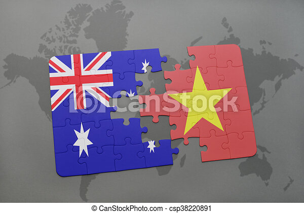 Puzzle with the national flag of australia and vietnam on a world puzzle with the national flag of australia and vietnam on a world map background gumiabroncs Choice Image