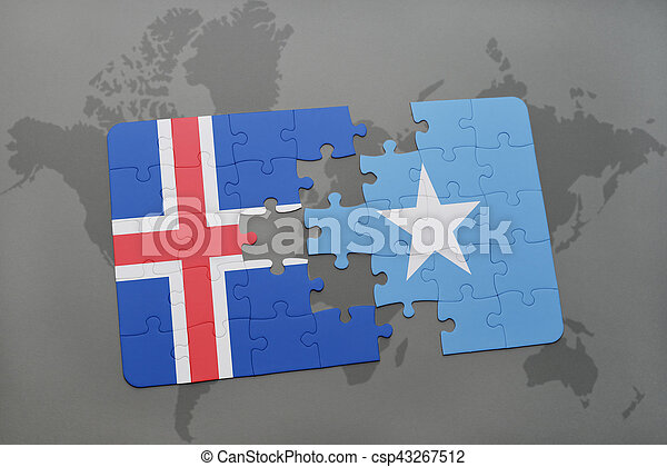 Puzzle with the national flag of iceland and somalia on a world map ...