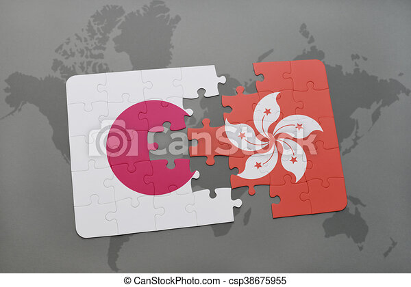 Puzzle with the national flag of japan and hong kong on a stock puzzle with the national flag of japan and hong kong on a world map background gumiabroncs Choice Image
