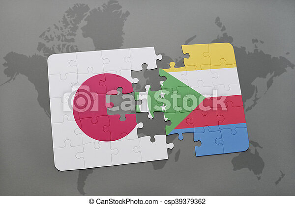 puzzle with the national flag of japan and comoros on a world map background. - csp39379362