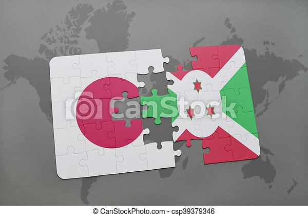 puzzle with the national flag of japan and burundi on a world map background. - csp39379346