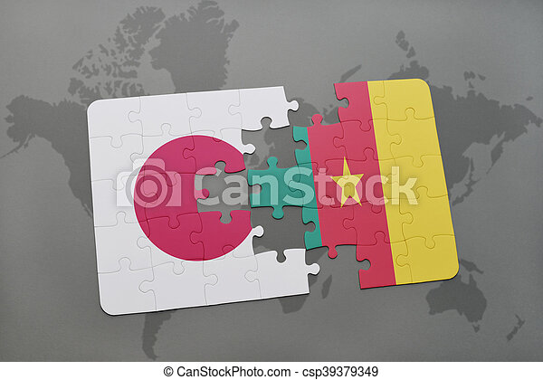 puzzle with the national flag of japan and cameroon on a world map background. - csp39379349