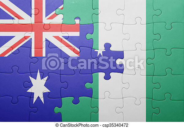 puzzle with the national flag of australia and nigeria - csp35340472