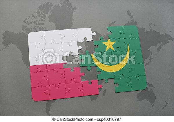 Puzzle with the national flag of poland and mauritania on a world ...