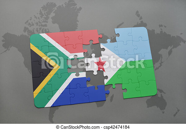 Puzzle with the national flag of south africa and djibouti on a puzzle with the national flag of south africa and djibouti on a world map gumiabroncs Image collections