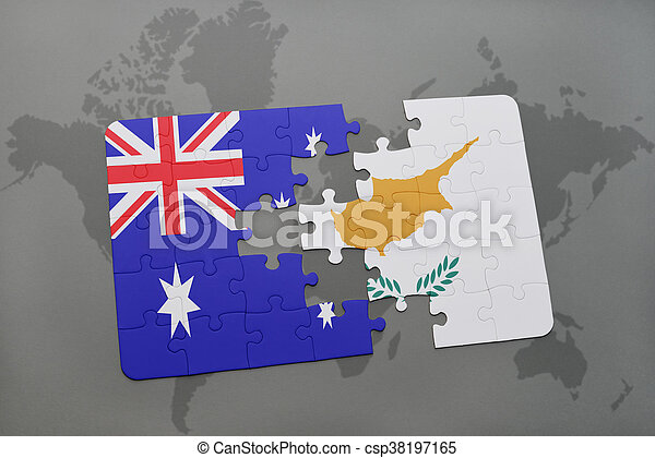 puzzle with the national flag of australia and cyprus on a world map background. - csp38197165