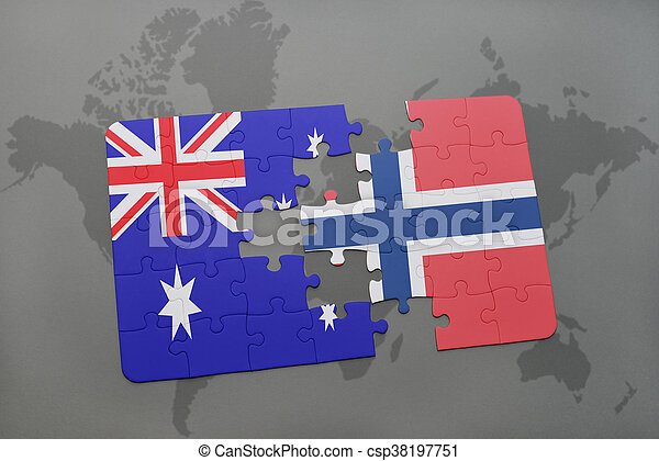 puzzle with the national flag of australia and norway on a world map background. - csp38197751