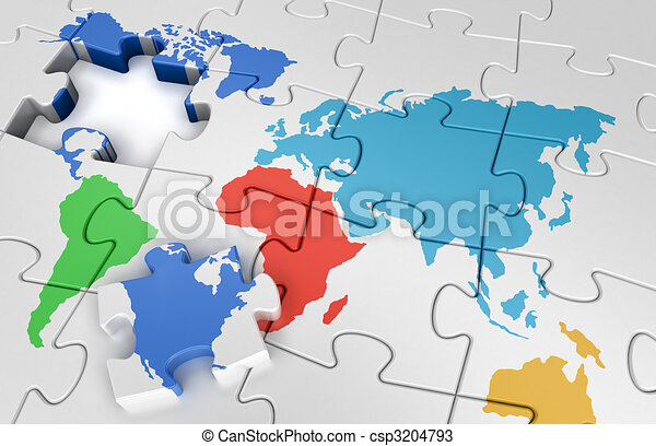 Puzzle world map jigsaw puzzle concept drawings search clipart puzzle world map stock illustration gumiabroncs Images
