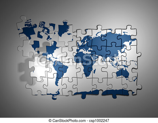 Puzzle world map 3d render stock illustrations search eps puzzle world map csp1002247 gumiabroncs Choice Image