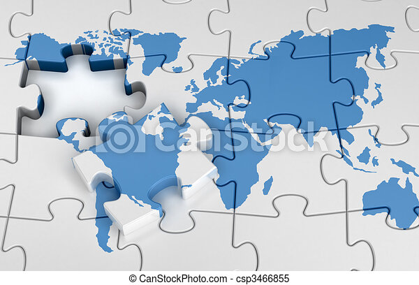 Puzzle world map jigsaw puzzle concept stock illustrations puzzle world map csp3466855 gumiabroncs Gallery
