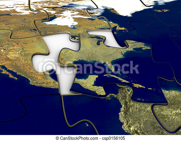 Puzzle world map us 3d rendered image of a jigsaw puzzle of the puzzle world map us csp0156105 gumiabroncs Gallery