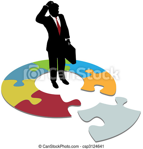 Puzzled business man questions missing solution piece - csp3124641