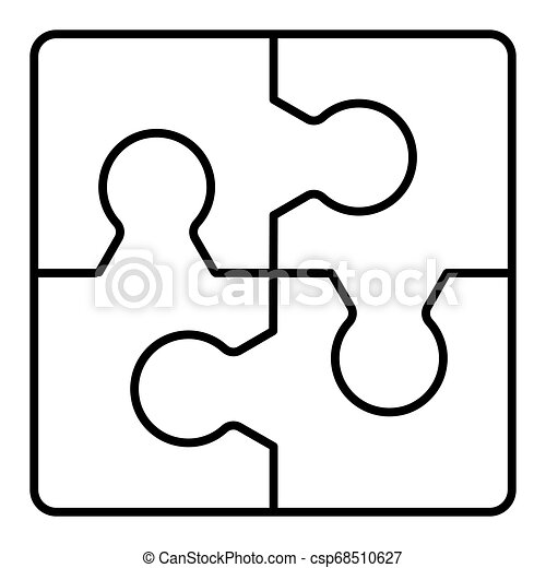 puzzles line vector icon isolated on white. Flat outline style. Eps 10 - csp68510627