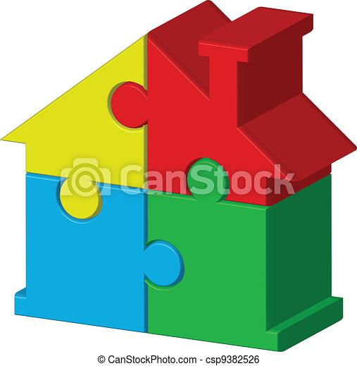puzzles, maison - csp9382526