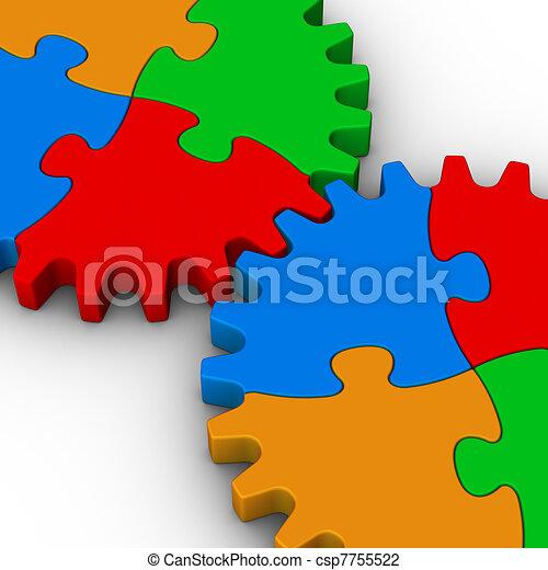 puzzles, puzzle, deux, coloré, engrenages - csp7755522