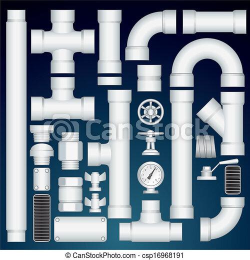 PVC Pipeline Parts. Vector Customizable Kit - csp16968191
