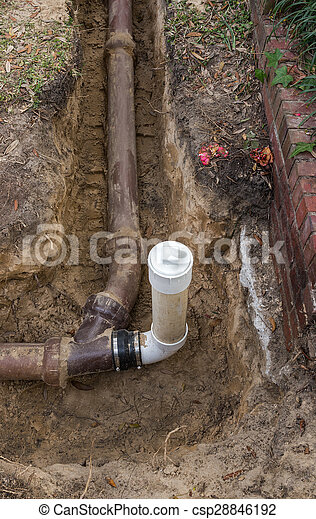 Pvc Sewer Line Clean Out Installed On Old Ceramic Clay