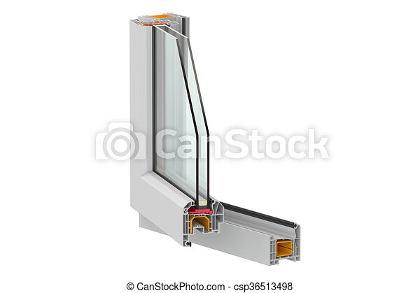 Ventanas Pvc Stock.Pvc Window Detail 3d Rendering