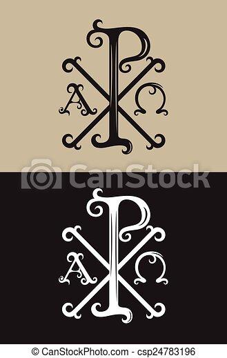 Px Alpha And Omega Art Vector Font Sign Symbol Design