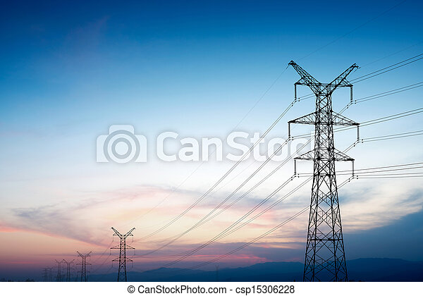 Pylon and transmission power line in sunset - csp15306228