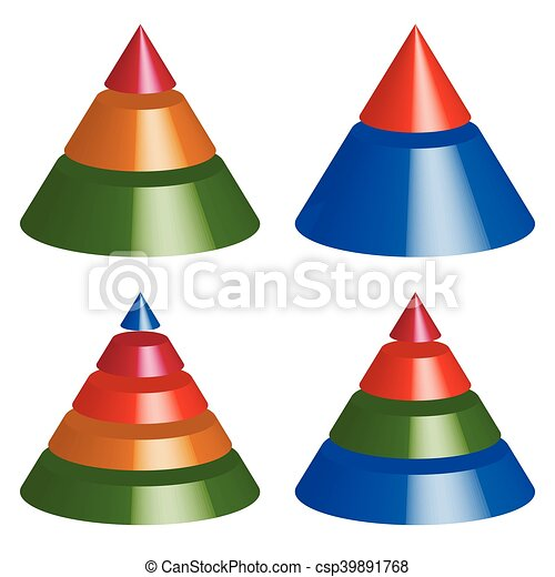 Pyramid, cone charts. 3-2-5-4 levels. Multilevel triangle 3d graphs - csp39891768