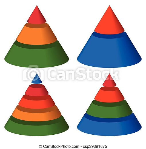 Pyramid, cone charts. 3-2-5-4 levels. Multilevel triangle 3d graphs - csp39891875